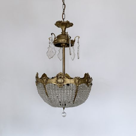 1920s French Cast Brass Beaded Bag Chandelier