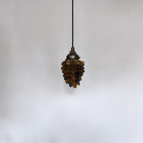French Multi Coloured Glass Grape Pendant