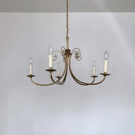 Three Delicate French Brass Chandeliers