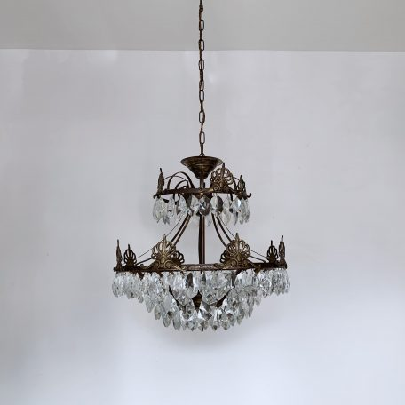 Large Ornate Brass Multi Arm Chandelier with Hand Cut Crystal Icebergs