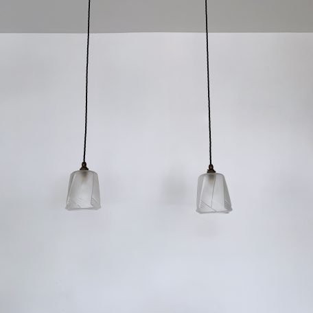 Pair Deco Style Frosted Glass Shades