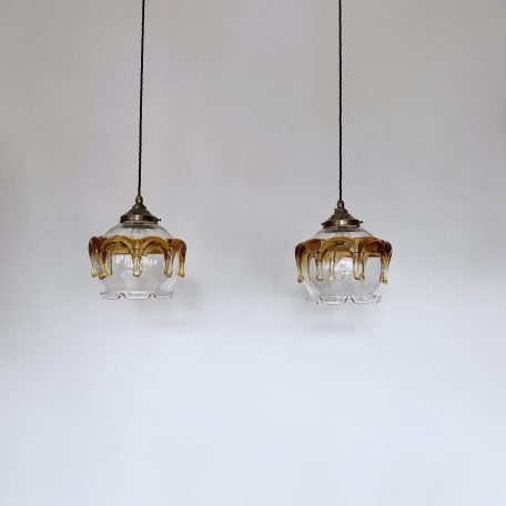 Pair of Carlo Nason for Mazzega, Murano Glass Shades
