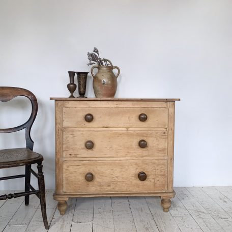 Small Pine Chest of Drawers with Original Dark Handles