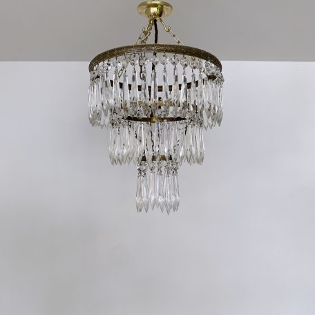 Three Tier Brass and Glass Icicle Waterfall Chandelier