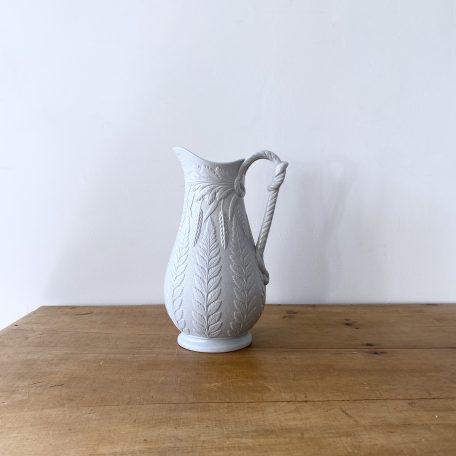 Blue Parian Ware Wheatsheaf Pattern Staffordshire Porcelain Jug