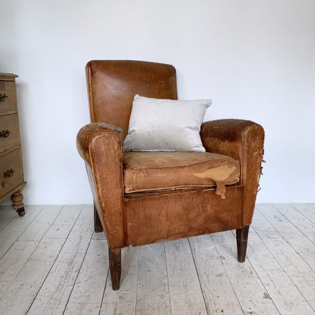 Farmhouse Leather Club Chair for Reupholstery