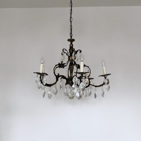 Floral Ornate Cast Brass Chandelier with Crystal Iceberg Drops