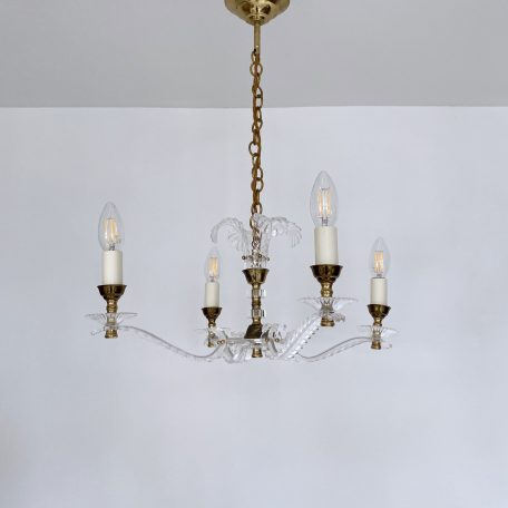 French 1950s Brass and Acrylic Floral Chandelier