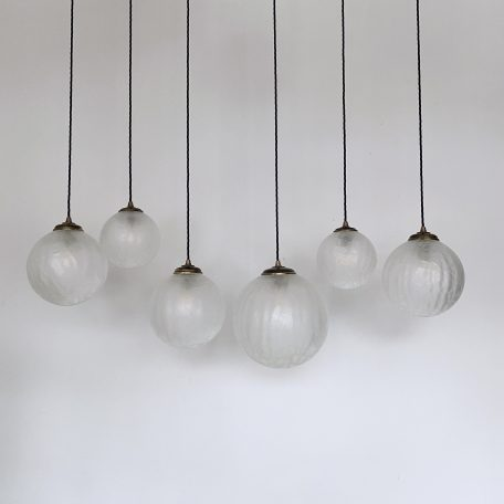 Frosted Crackled Glass Globe Shades