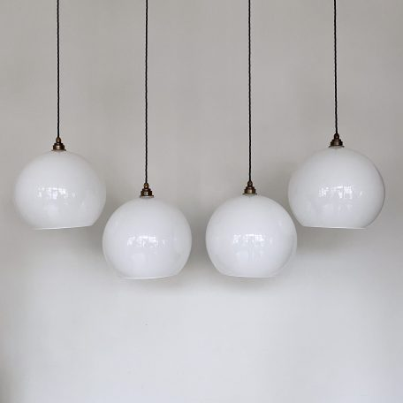 Large Globe White Polished Glass Shades