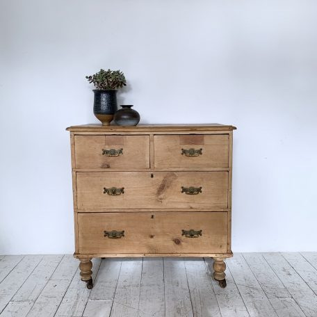 Small Pine Chest of Drawers on Casters with Original Handles