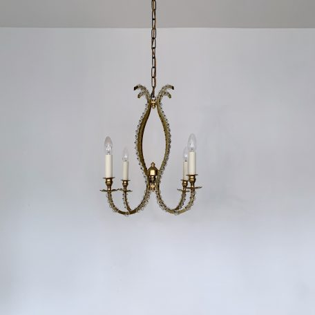 Elegant French Brass Chandelier with Glass Rosettes