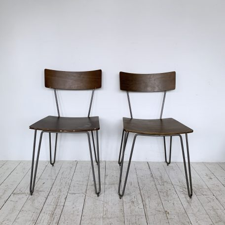 Four Mid Century Plywood and Painted Grey Metal Chairs