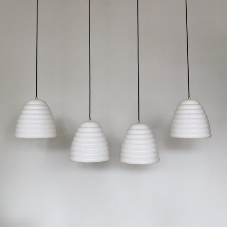Four White Ceramic Beehive Shades