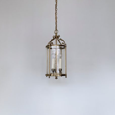 French Cylindrical Polished Brass Lantern