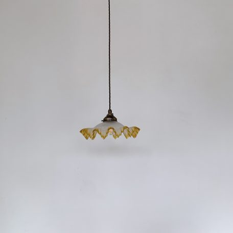 French Frosted Handkerchief Shade with Yellow Edge