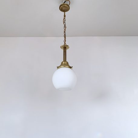 Matt Opaline Shade with Decorative Brass Gallery