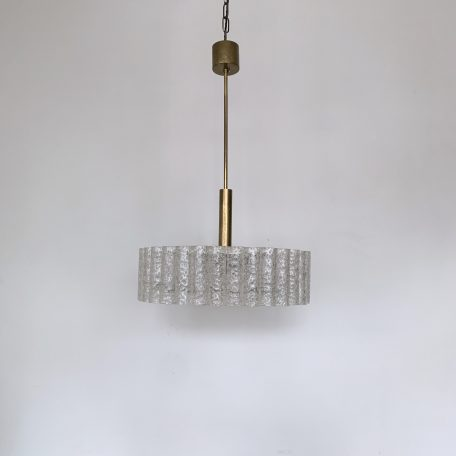 Mid Century Brass and Textured Glass Diffuser Pendant