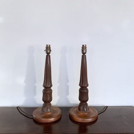Pair of Vintage Carved Wooden Lamps