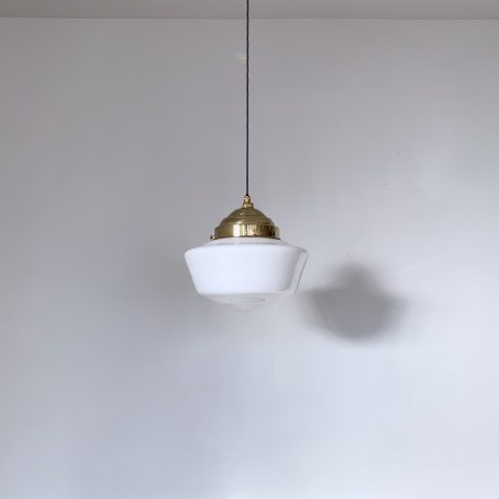 School House Opaline Shade with Rounded Polished Brass Gallery