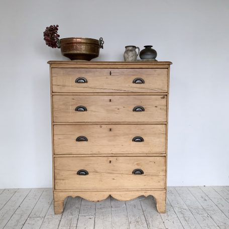 Tall Pine Drawers with Dark Brass D-Cup Handles