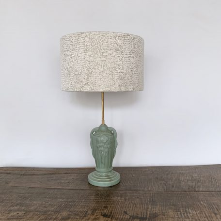 Vintage French Turquoise Ceramic Table Lamp