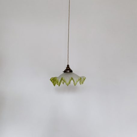 Frosted French Handkerchief Shade with Lime Green Frill Trim