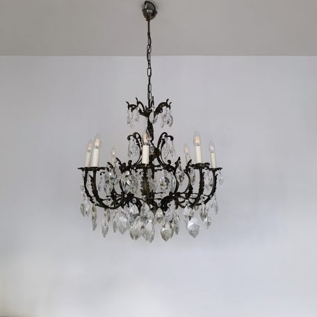 Large French Heavy Cast Ornate Floral Chandelier with Crystal Drops
