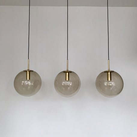 Large Grey Glass Globes with Brass Monks Cap Fittings