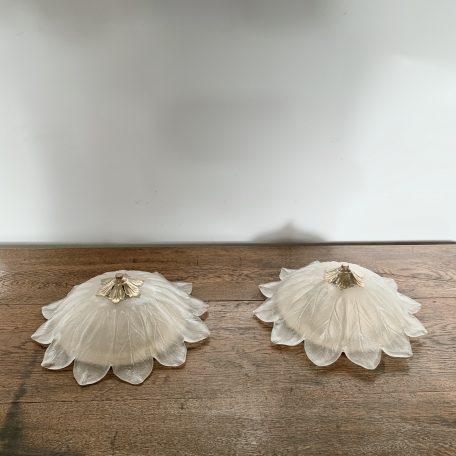 Pair of Mid Century French Glass Floral Diffuser Ceiling Shades