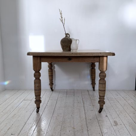 Waxed Pine Square Table on Turned Legs with Casters