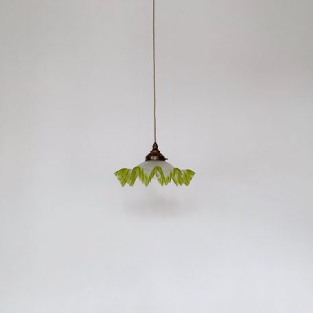 French Frosted Handkerchief Shade with Lime Green Edge