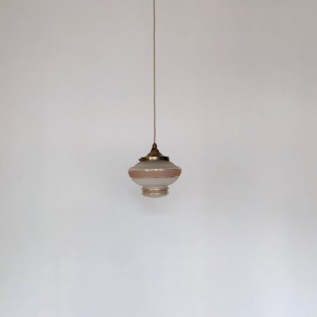French Frosted Pink Enclosed Shade with Gold Details