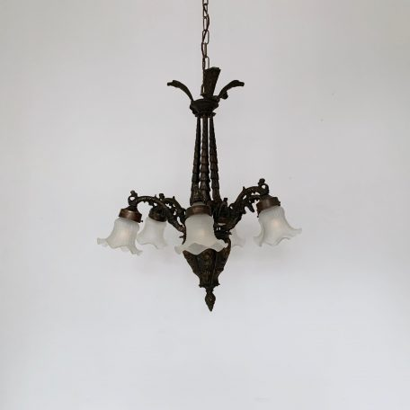 French Heavy Cast Brass Downlighter with Frosted Frilled Shades