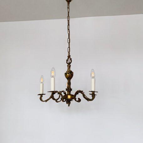 French Ornate Cast Brass Chandelier