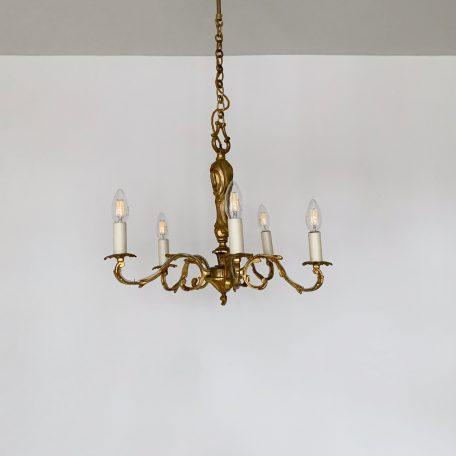 French Ornate Cast Brass Gilt Chandelier