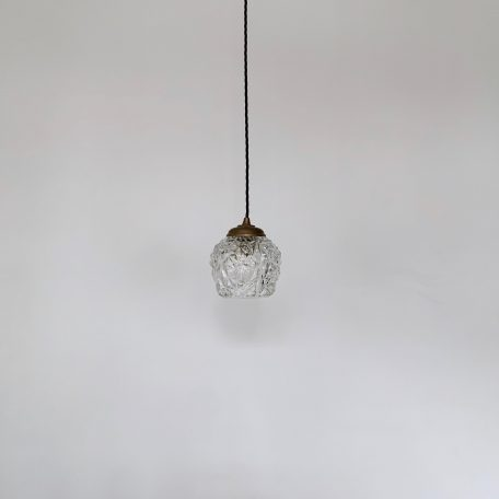 French Small Clear Thick Textured Glass Shade