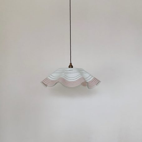Large French White and Pink Striped Glass Shade