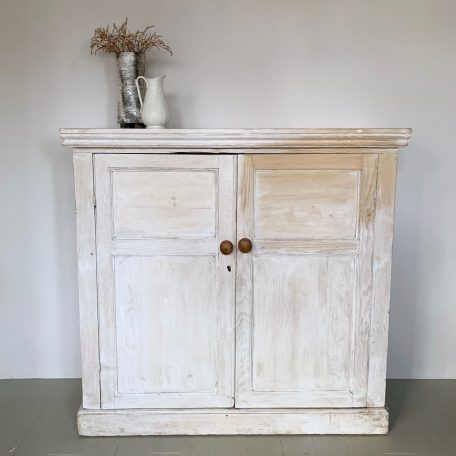 Large Victorian Pine Lime Washed Cupboard