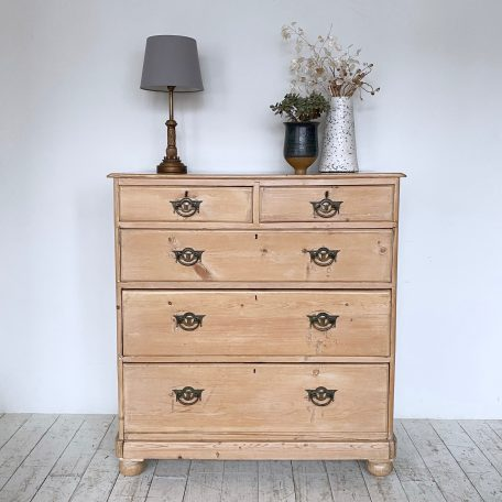 Rustic Pine Drawers with Art Nouveau Brass Handles