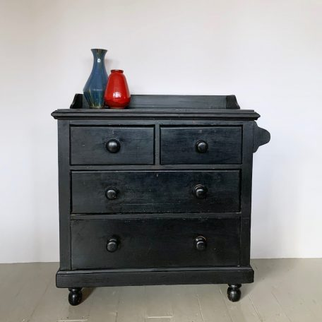 Small Vintage Black Painted Chest of Drawers with Towel Rail