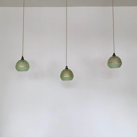 Three French Vintage Green Shades with Gold Details