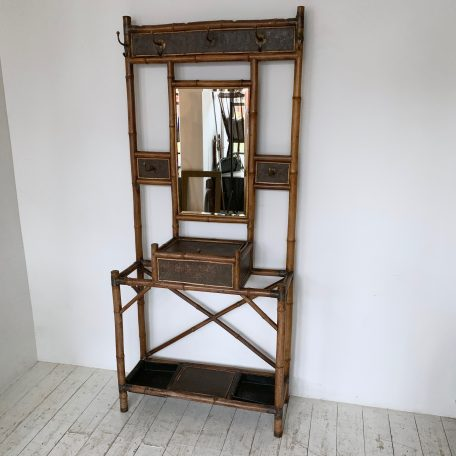 Victorian Bamboo and Mirrored Hall Stand