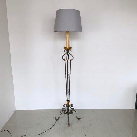 French Gilt Wrought Iron Floor Lamp