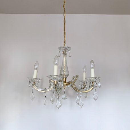 French Marie Thérèse Chandelier with Glass Flat Leaf Drops