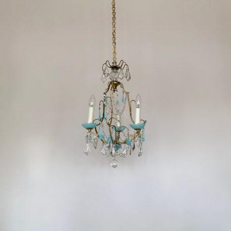 French Brass and Blue Glass Birdcage Chandelier with Crystal Drops