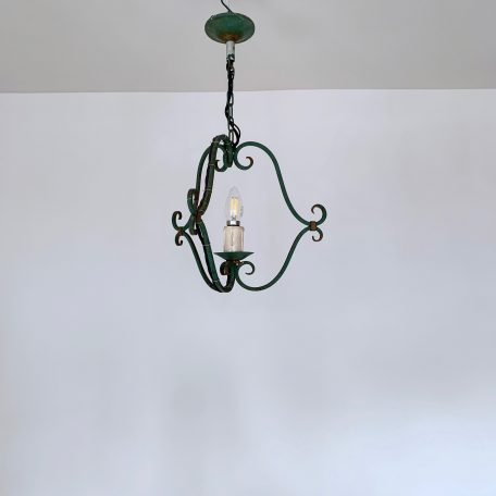 French Green Wrought Iron Pendant