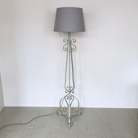 French Greened Wrought Iron Floor Lamp