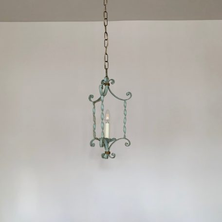 French Greened Wrought Iron Pendant