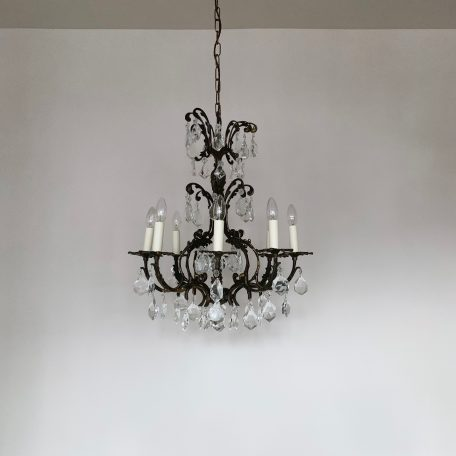 French Ornate Brass Chandelier with Cut Crystal Drops
